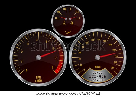 rpm gauge vector. dashboard set with speedometer, rpm gauge and fuel level. vector eps10. f