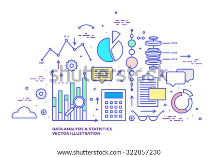 Data Analysis and Statistics Thin Line Flat Style Vector Icons Set. Grpahs, Charts and Diagrams, Cloud Computing, Web Technologies, Data Management and Office Elements Collection. - stock vector