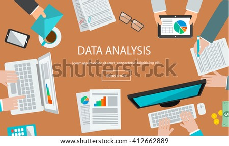 Data Analysis Concept Table Top View Stock Vector