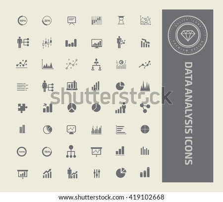 Data analysis icon set,vector - stock vector