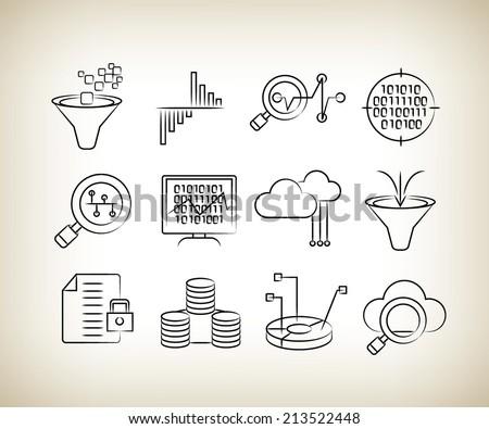 data analysis icons, data analytics technology, sketch icons - stock vector