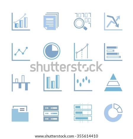 data analysis icons set, data analytics icons, graph icons, chart icons - stock vector