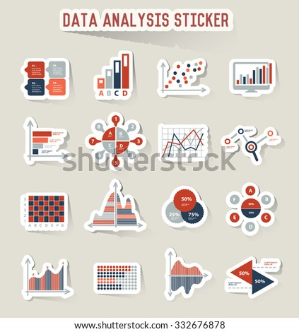 Data analysis icons, sticker design,vector - stock vector