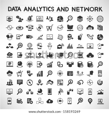 data analytic and social network icons set