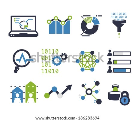 Data analytic icon set - stock vector