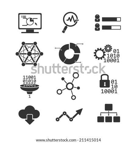 Data analytic vector icons - stock vector