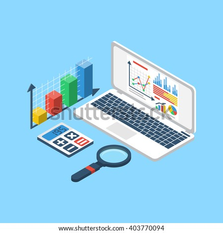 Data analytics, chart graphic report. 3d isometric. Website banner. Business concept,  financial statistic, management. Concept of research, optimization, analysis. Vector. Report market analysis. - stock vector
