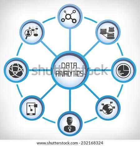 data analytics concept, information technology diagram - stock vector