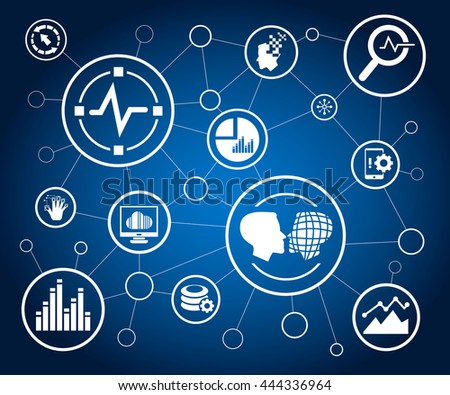 data analytics icons and network diagram on white background - stock vector