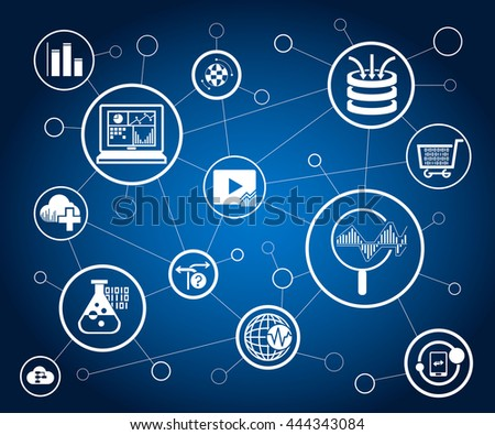 data analytics icons and network on blue background - stock vector