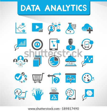 data analytics icons, blue icons - stock vector