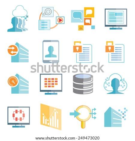 data analytics icons set, big data icons - stock vector