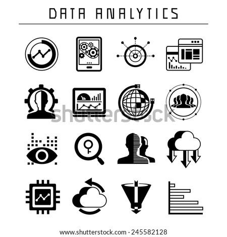 data analytics icons set, data analysis - stock vector