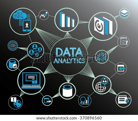 data analytics network background, data analytics icons  - stock vector