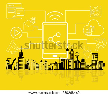 data analytics, social network - stock vector
