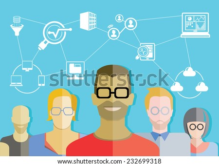data analytics team, big data concept  - stock vector