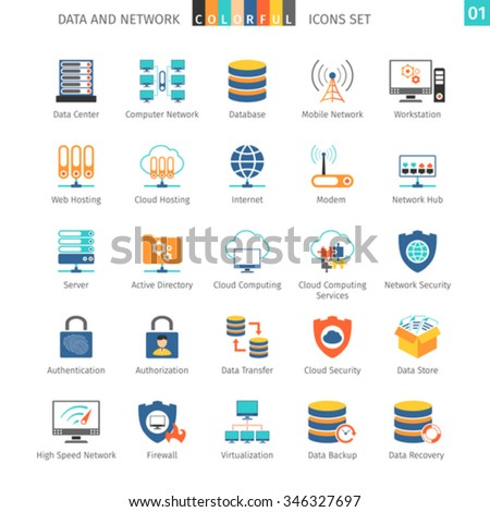 Data And Networks Colorful Icon Set 01