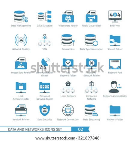 Data And Networks Icon Set 02 - stock vector