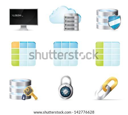 Data base icons set - stock vector