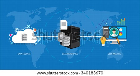 data business intelligence warehouse database - stock vector