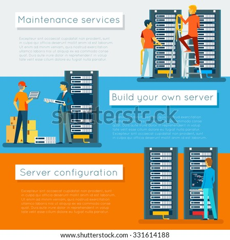Data center and hosting vector banners set. Network internet database, configuration and maintenance, build server illustration - stock vector
