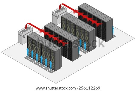 Data Center Hot And Cold Aisle Rack/cabinet Configuration/layout. Arrows  Show Flow