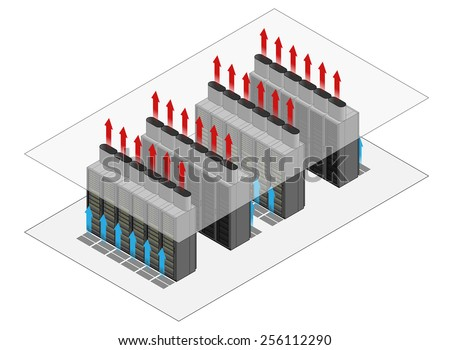 Data center hot and cold aisle rack/cabinet configuration/layout. Arrows show flow of hot and cold air.Cold air enters from raised floor. Hot air vents through chimneys into the ceiling cavity. - stock vector