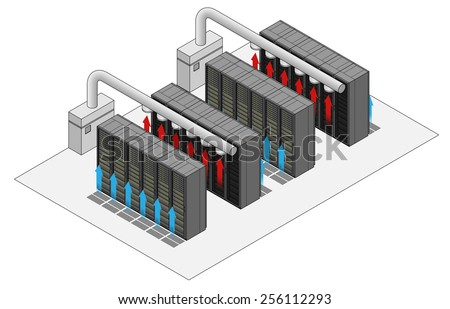 Data Center Hot And Cold Aisle Rack Cabinet Configuration Layout Arrows Show Flow
