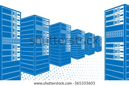 Data center with hosting servers and staff. Server room. ddos attack and protection. Computer technology, network and database, internet center, vector illustration