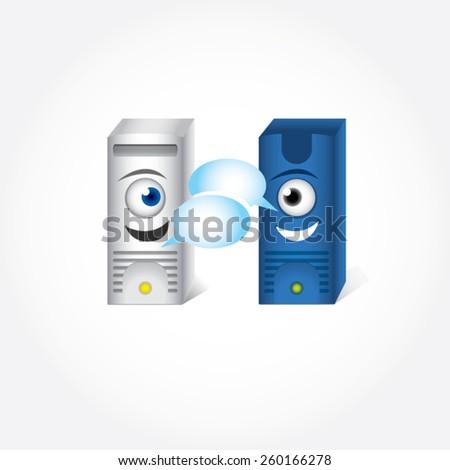 Data exchange. Cartoon talking servers, vector illustration. Technology process. - stock vector