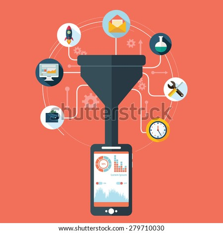 data filter, big data concept with long shadow - stock vector