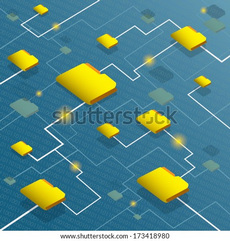 Data flow system with binary code background - stock vector