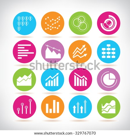data icons, chart and graph icons - stock vector