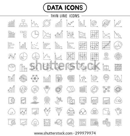 data icons, line icons of graph and chart - stock vector