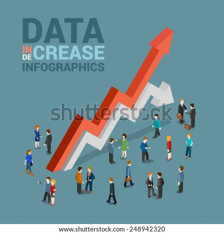 Data increase decrease infographics template concept flat 3d web isometric vector. Businessman and huge red growth white drop line arrows. Creative people collection. Build your infographic. - stock vector