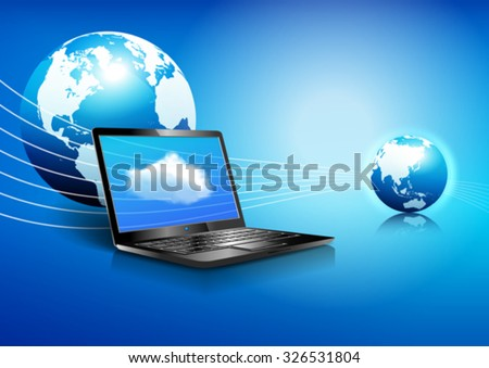 Data Laptop, Wifi, Cloud,  Communication Background - Binary Code Technology Stream with Globe - stock vector
