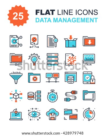 Data Management Icons - stock vector
