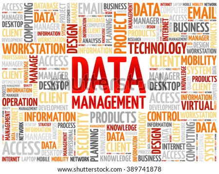 Data Management word cloud concept - stock vector