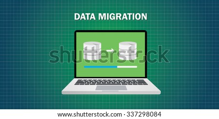 data migration in computer from database - stock vector