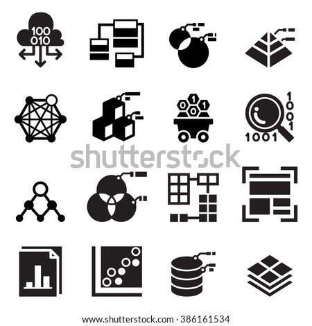 Data mining Technology , Data icon , Data analysis icon  - stock vector
