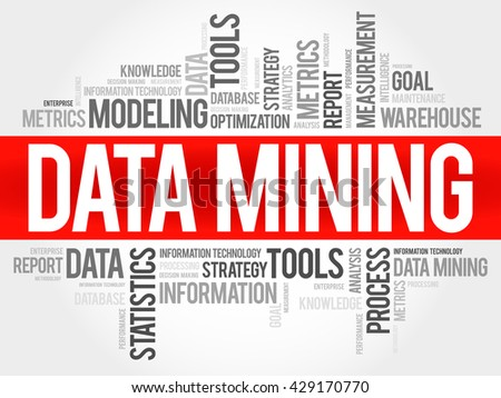 Data Mining Technology Strategy word cloud, business concept - stock vector