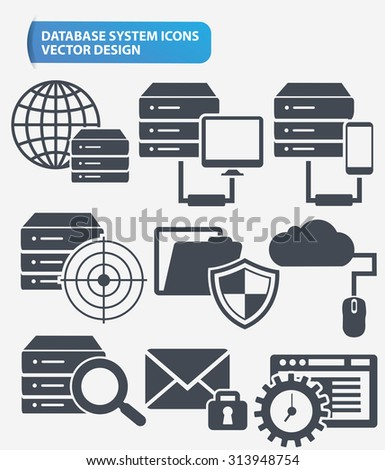 Data,Networking and database server icon set design,clean vector - stock vector