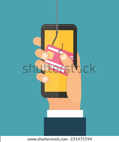 Data Phishing, credit or debit card on fishing hook, hand with mobile, internet security. Flat design vector illustration - stock vector