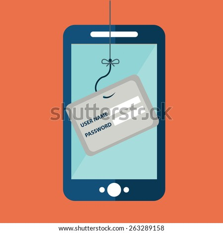 Data Phishing, credit or debit card on fishing hook, mobile phone, internet security. Flat design vector illustration. - stock vector