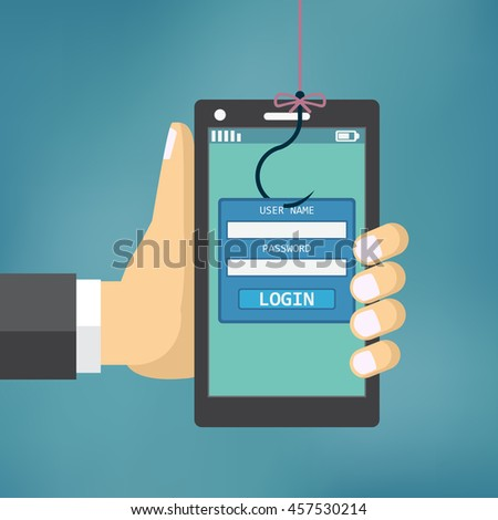 Data Phishing with fishing hook, mobile phone, internet security.