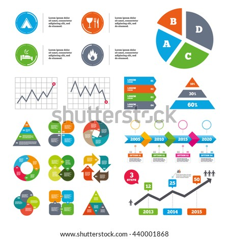 Data pie chart and graphs. Food, sleep, camping tent and fire icons. Knife, fork and wineglass. Hotel or bed and breakfast. Road signs. Presentations diagrams. Vector - stock vector