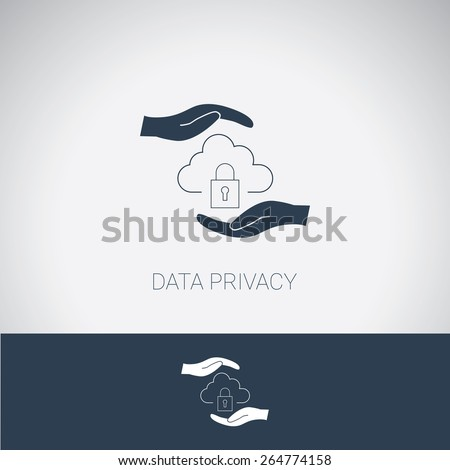 Data privacy symbol. Cloud computing protection and security. Modern flat design. Eps10 vector illustration. - stock vector