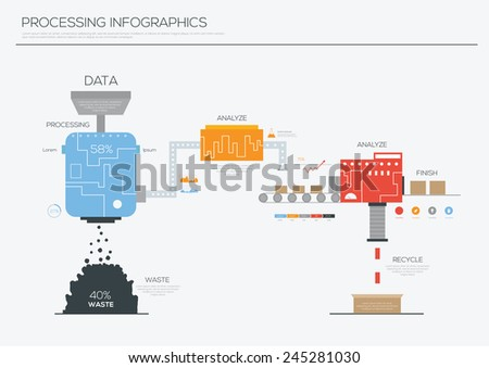 Data processing infographics design ,Illustration eps 10 - stock vector
