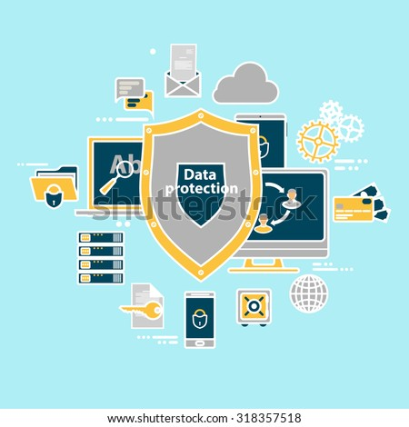 Data protection and safe work. Flat design. - stock vector