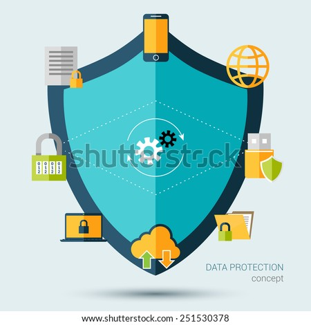 Data protection concept with shield and information security symbols vector illustration - stock vector